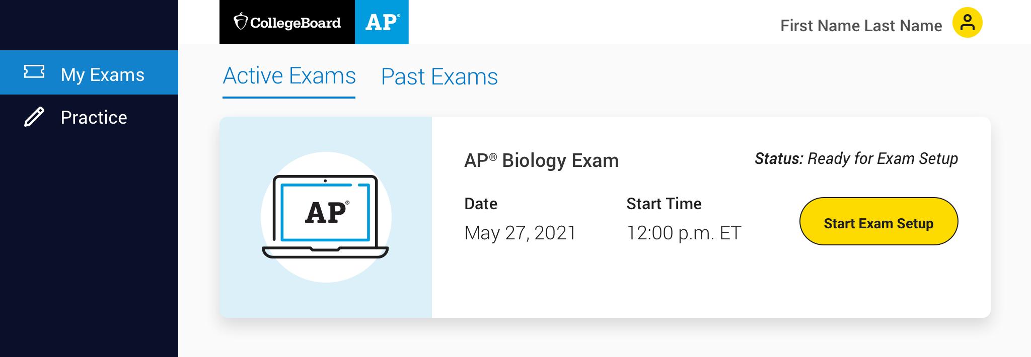 Exam Setup Screen
