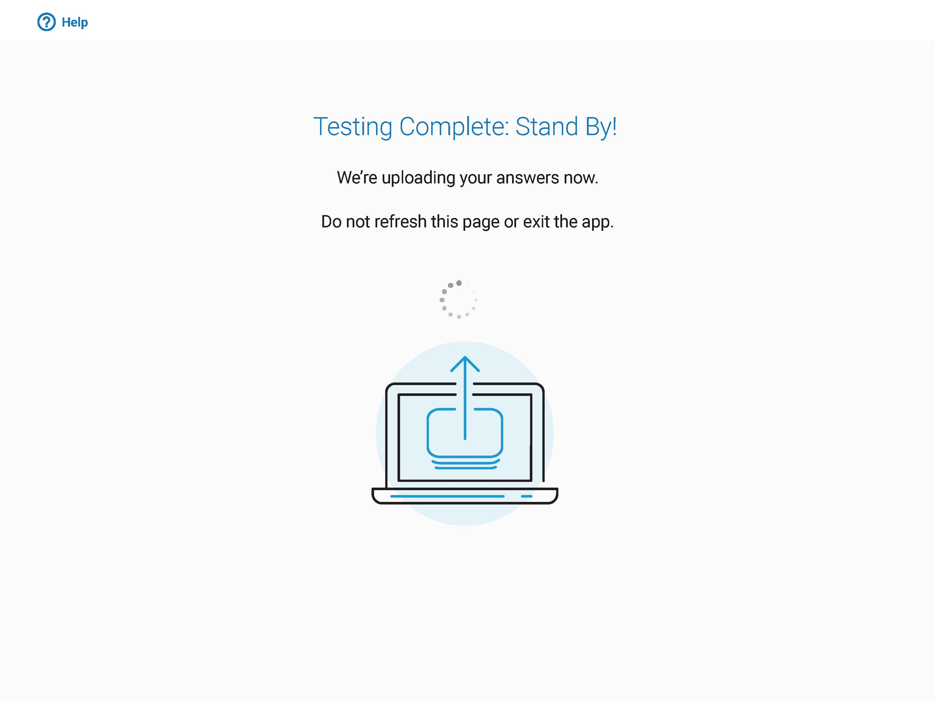 Taking Digital Exams - Answer Submission Complete Screen