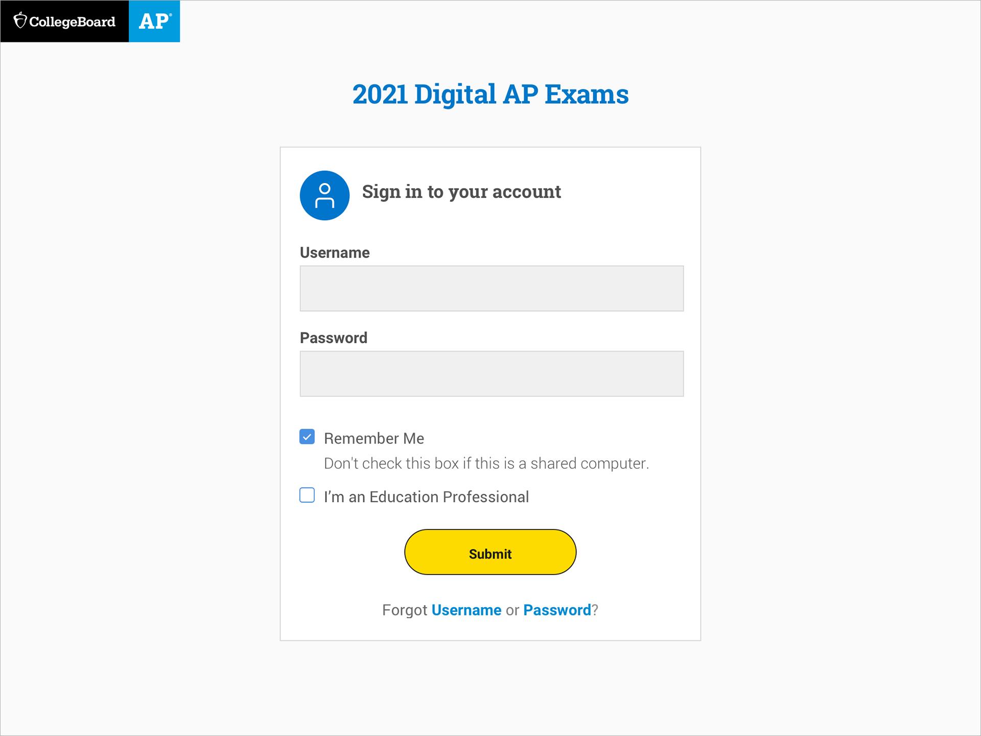 2021 AP Digital Exams - Login