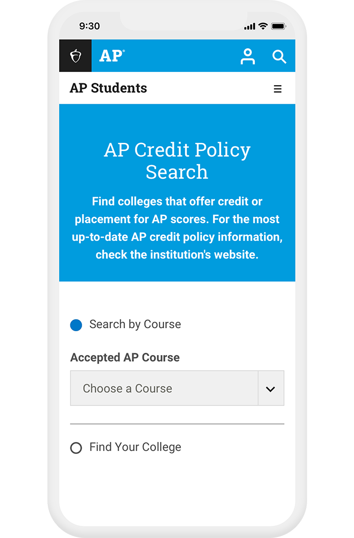 Screenshot of AP Credit Policy Search tool on mobile phone